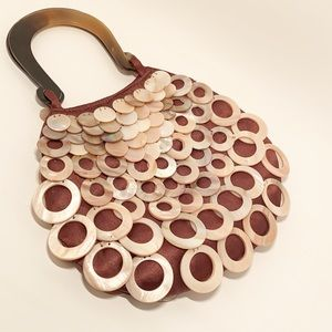 Rare Mod by design Silk & Horn embellished handbag